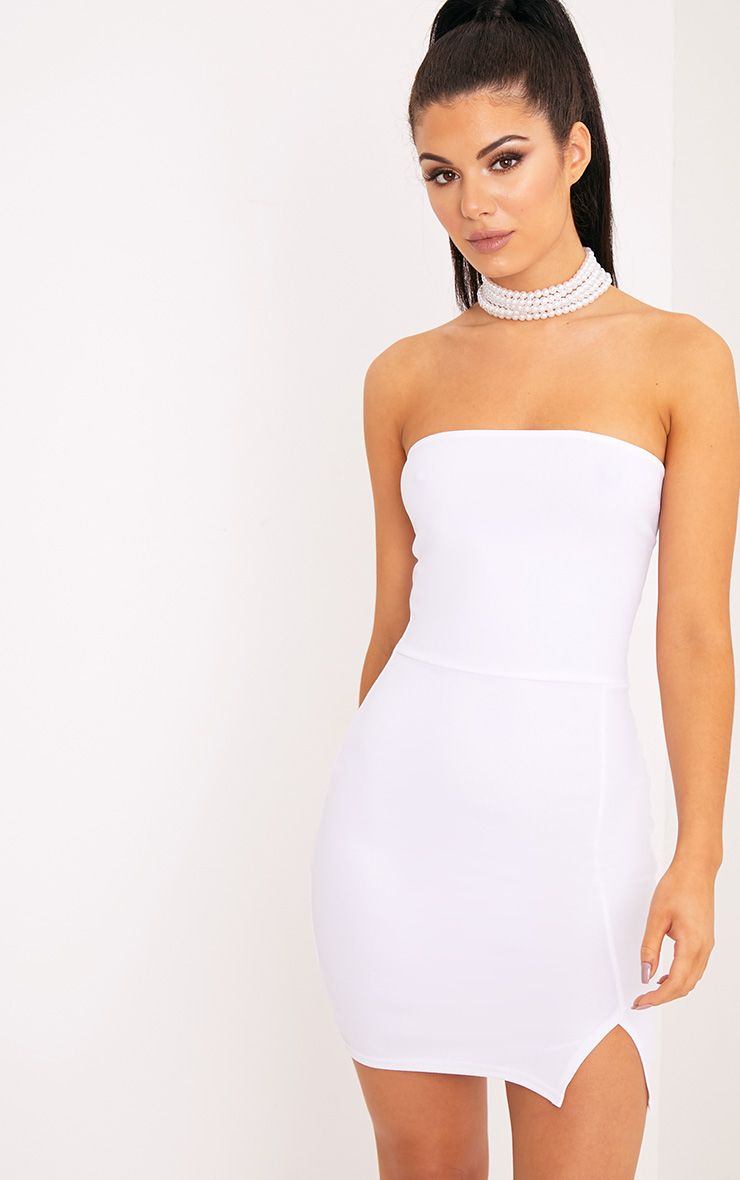 Layala White Split Detail Bandeau Bodycon Dress