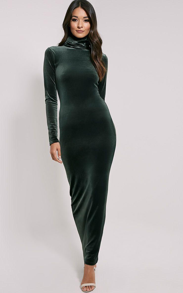 Cindy Khaki Turtle Neck Velvet Maxi Dress 1