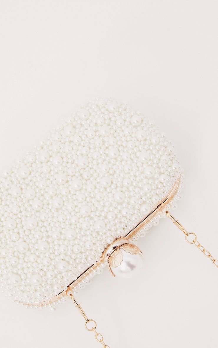 Cream Pearl Box Clutch
