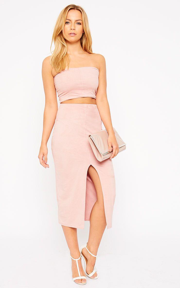 Riley Pink Suede Midi Skirt 1