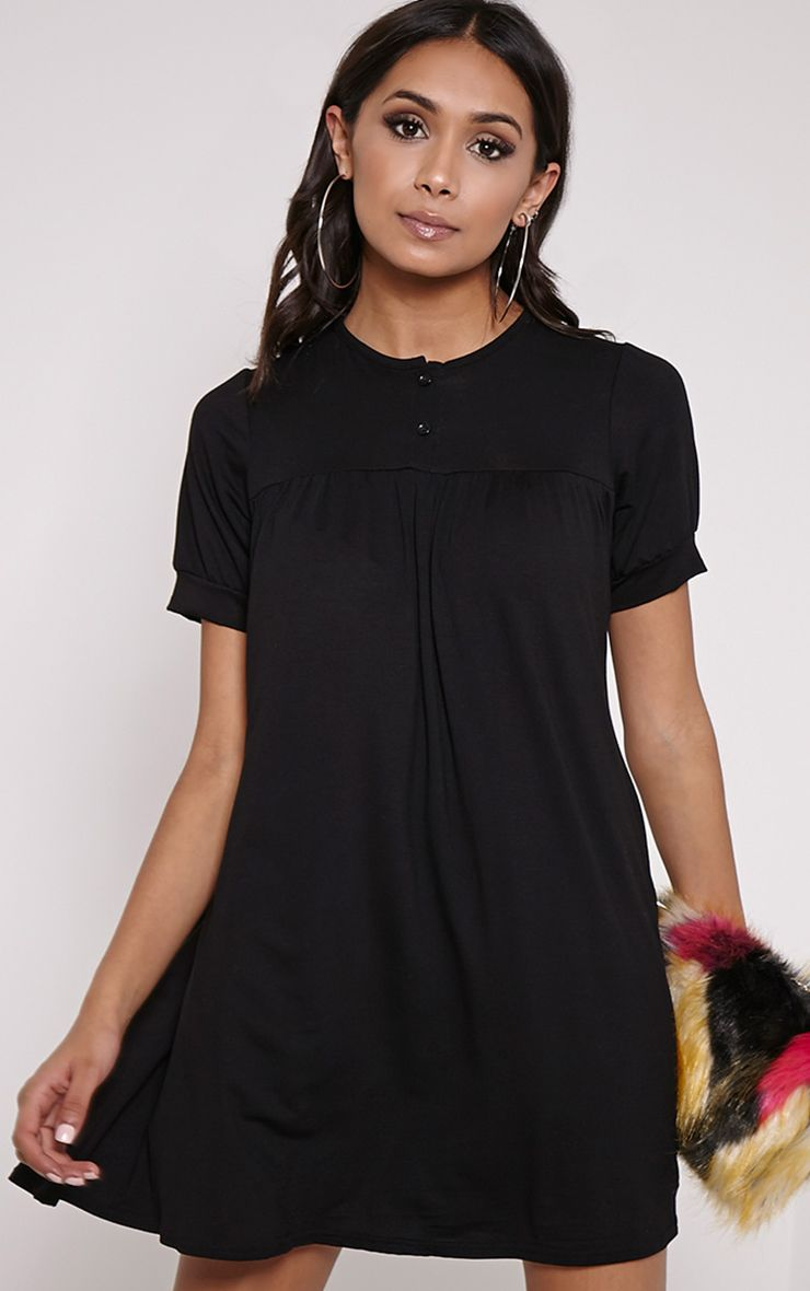 Basic Black Button Down Cap Sleeve Swing Dress 1