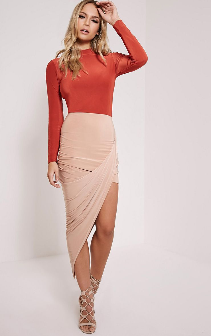 Saffy Burnt Orange Colour Block Dress 1