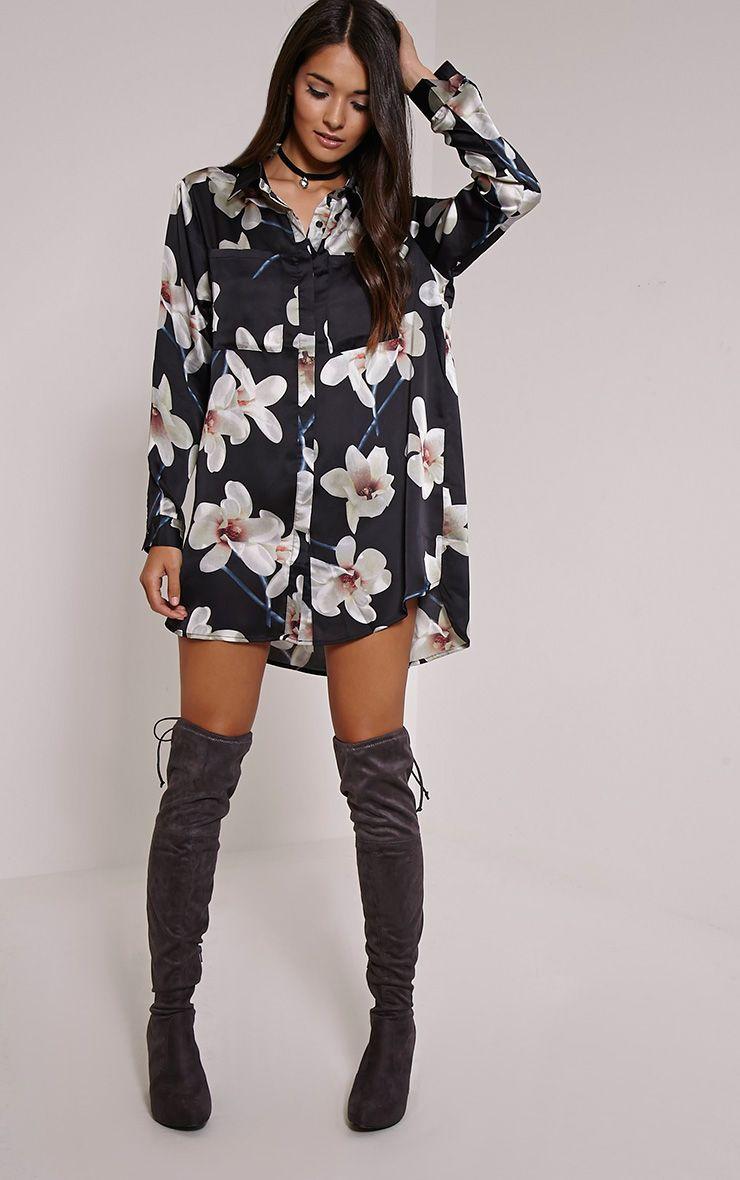 Tricia Black Floral Print Shirt Dress 1