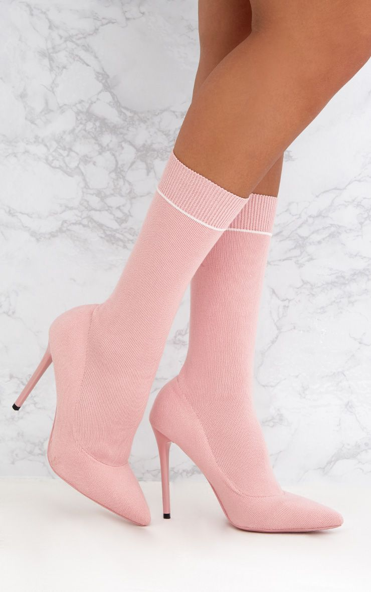Pink Contrast Piping Knitted Pointy Sock Boots