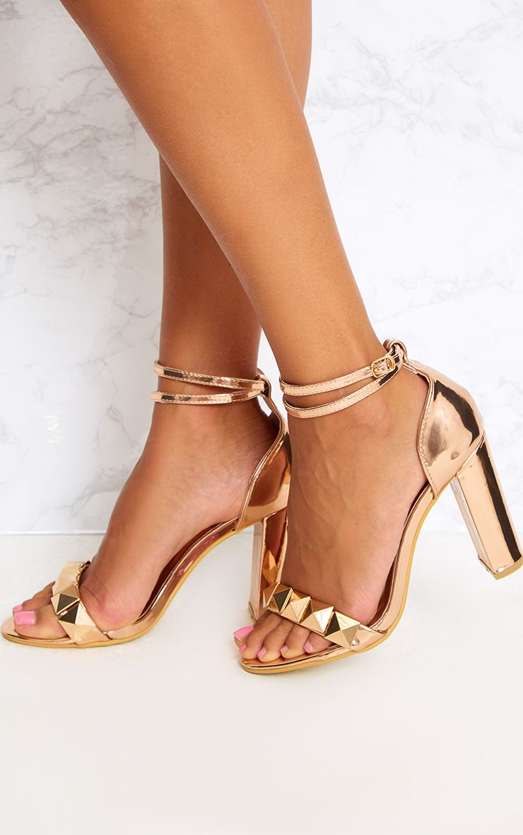 Rose Gold Pyramid Studded Block Heels