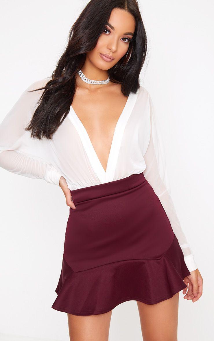 Burgundy Flippy Hem Mini Skirt 1