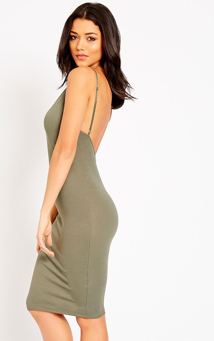 Ada Khaki V Back Crepe Midi Dress 1