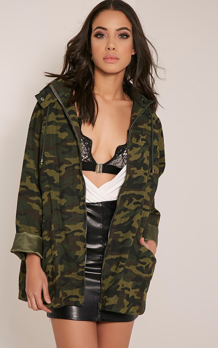 Jaynor Green Camouflage Parka Jacket Green