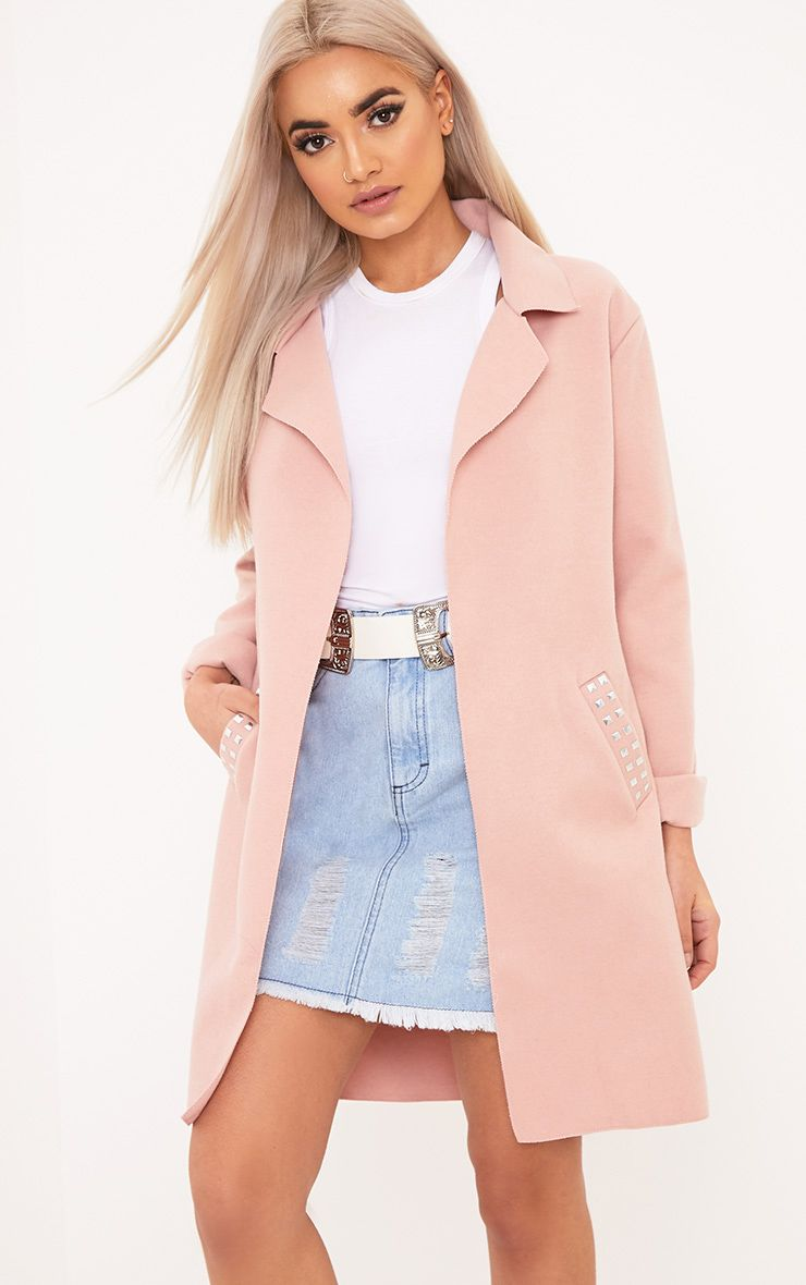 Bluebell Light Pink Stud Pocket Detail Coat