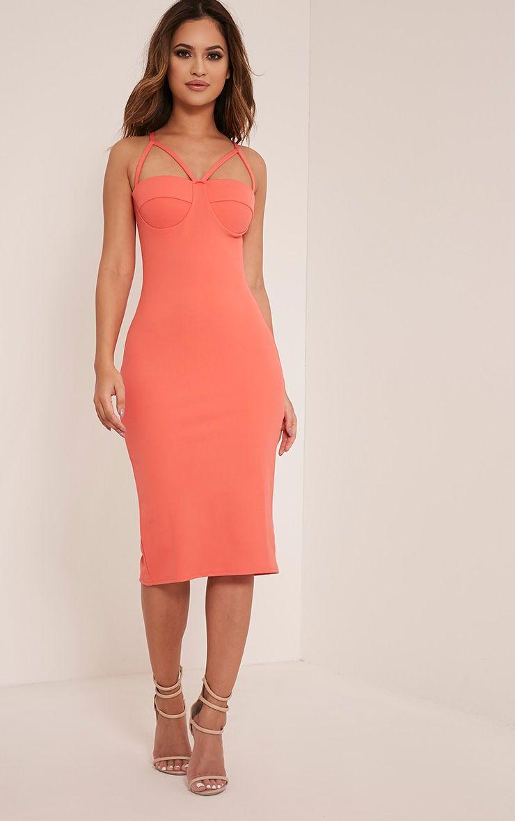 Phiona Coral Crepe Harness Detail Midi Dress 1