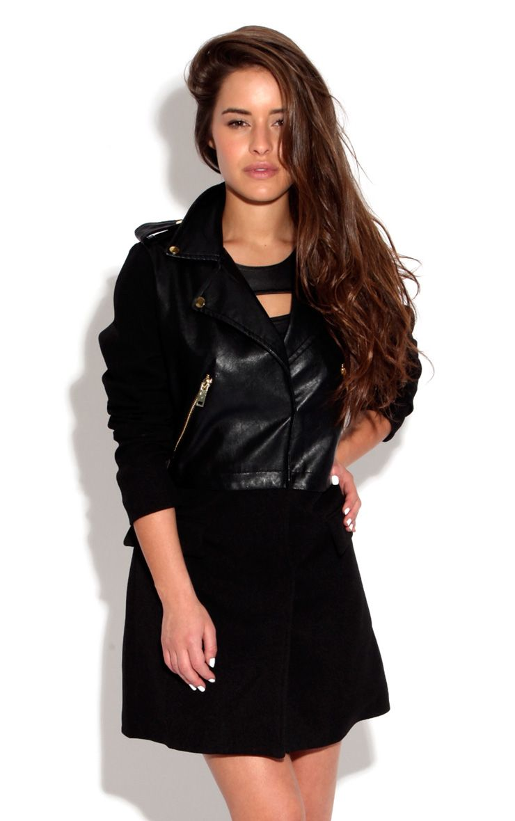 Mina Tailored Coat With Pu Collar 1