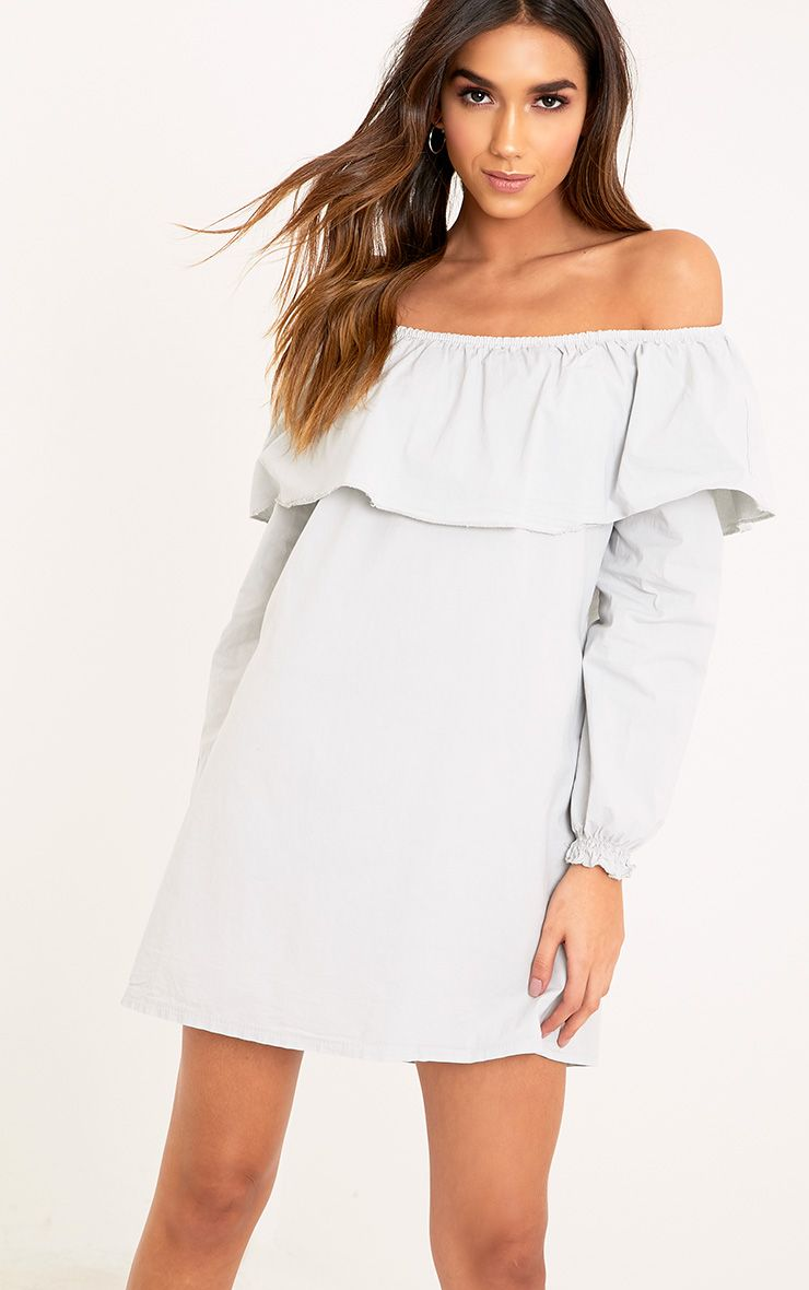 Ferne Grey Cotton Frill Bardot Shift Dress