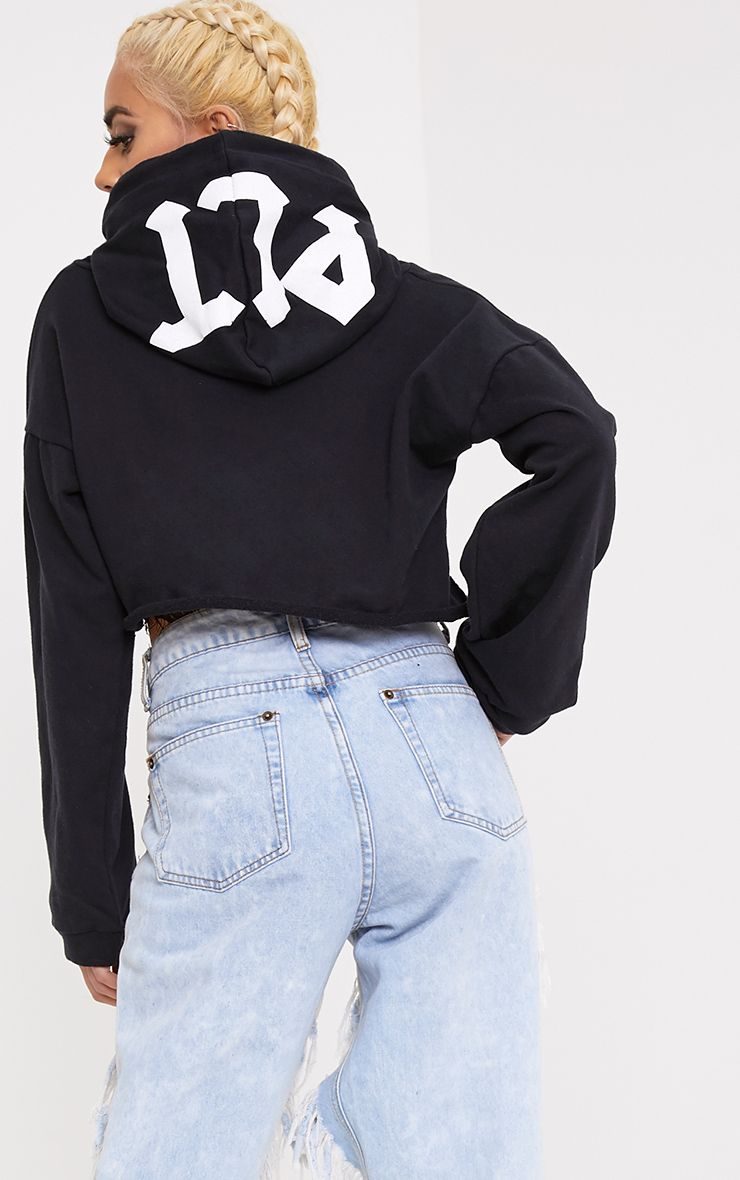 PLT Slogan Black Extreme Cropped Hoodie