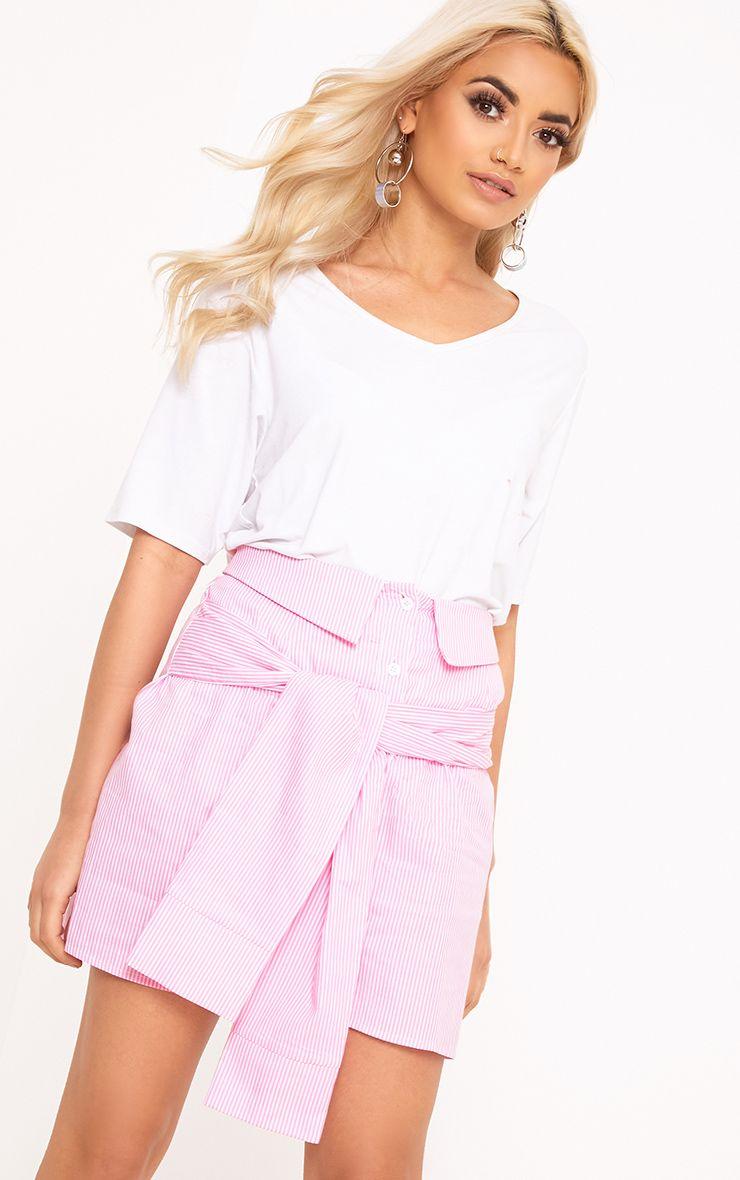 Bia Pink Pinstripe Shirt Skirt