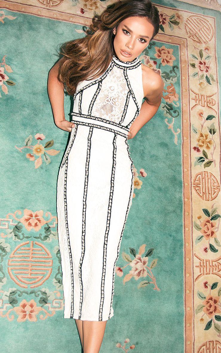 Francessia White Premium Embellished Midi Dress