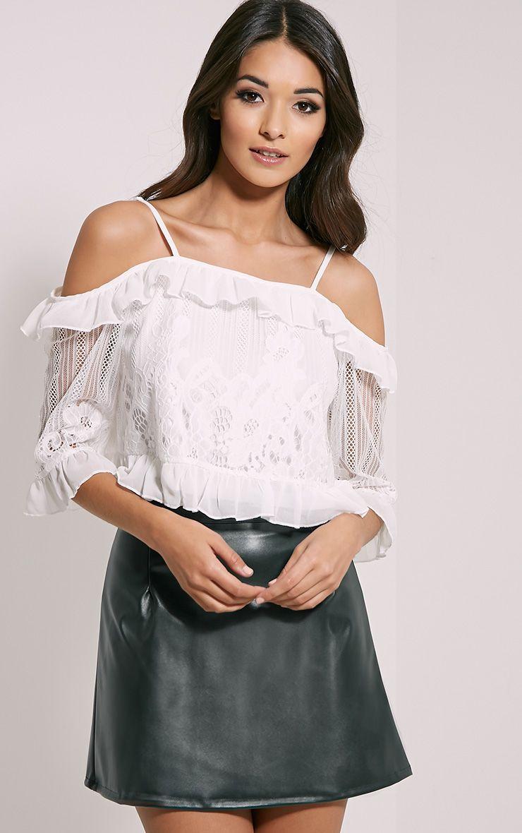 Augusta White Lace Bardot Crop Top 1