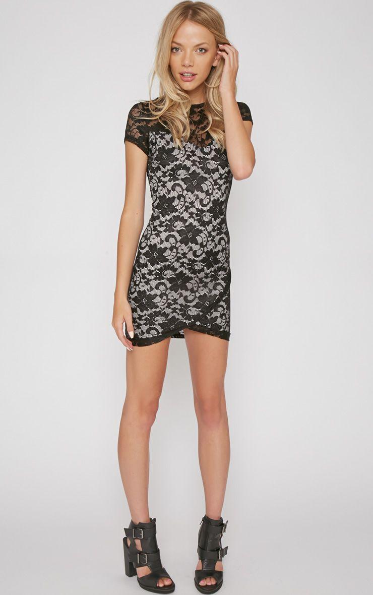 Crystal Black Lace Bodycon Dress 1