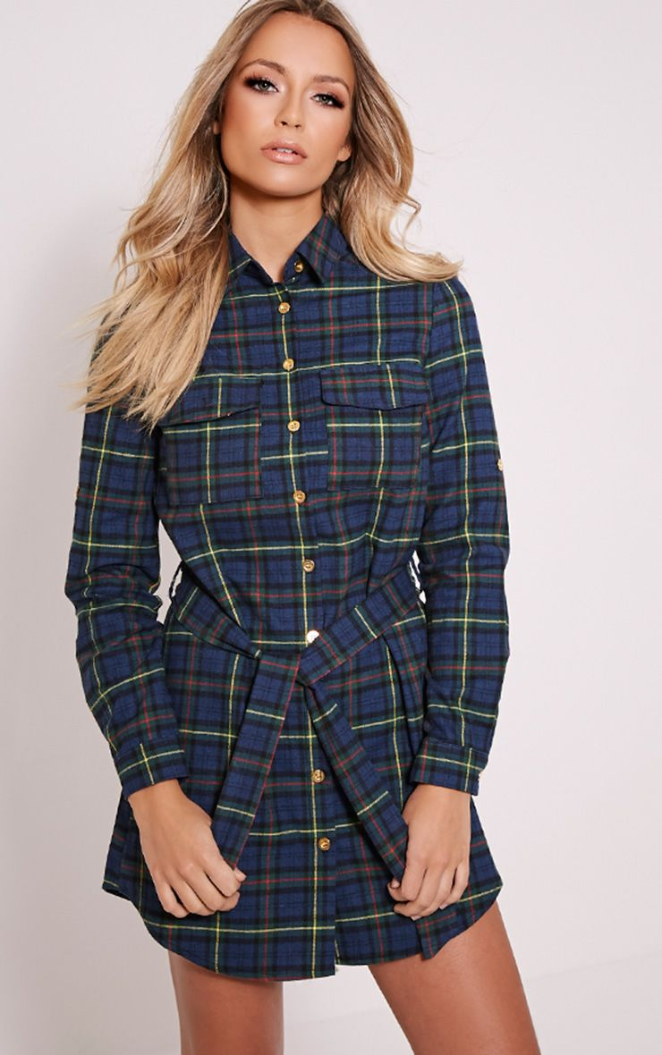 Jacqui Green Checked Tie Waist Shirt Dress 1