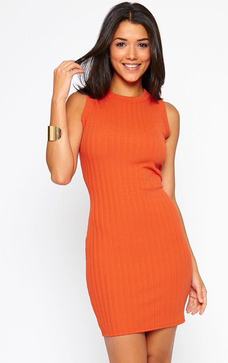 Stefany Orange Ribbed Mini Dress 1