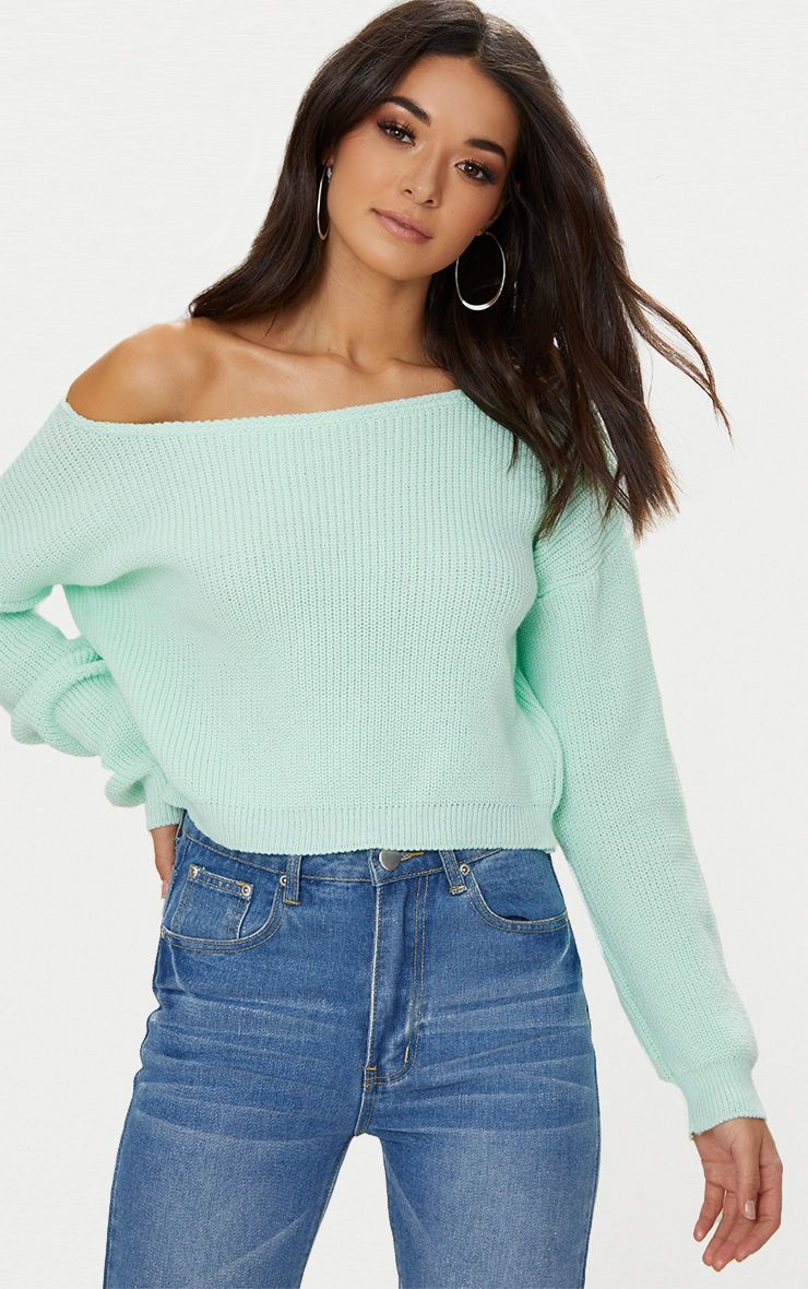 Mint Off The Shoulder Crop Jumper 1