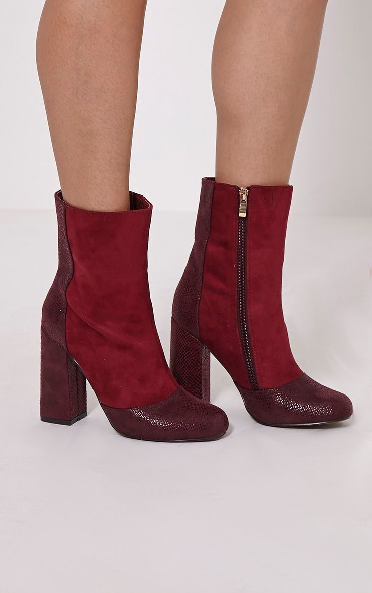 Brice Berry Snake Faux Suede Heeled Boots 1