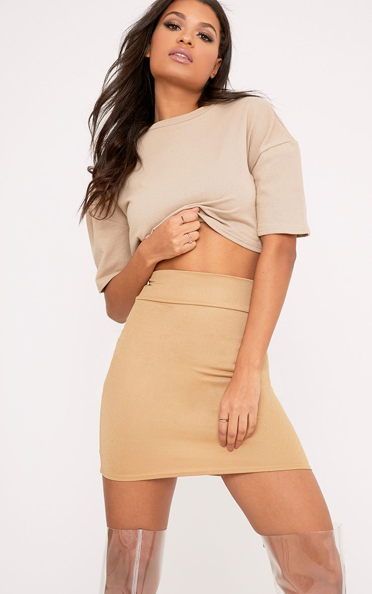 Kaesha Camel Extreme High Waisted Mini Skirt