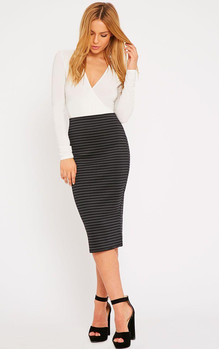 Liane Black Pinstripe Midi Skirt  1