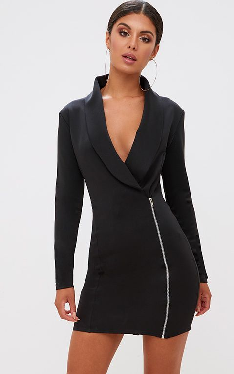 Black Zip Detail Blazer Dress