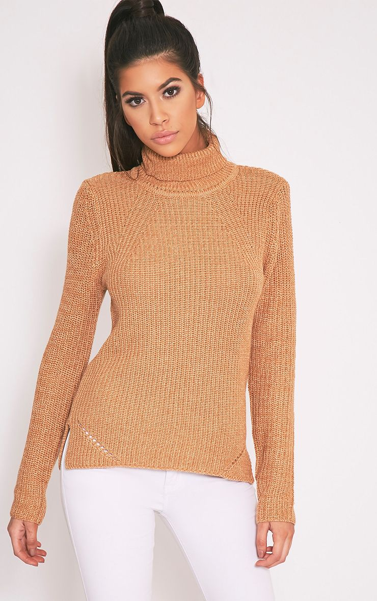 Soraya Tan Turtle Neck Knitted Jumper