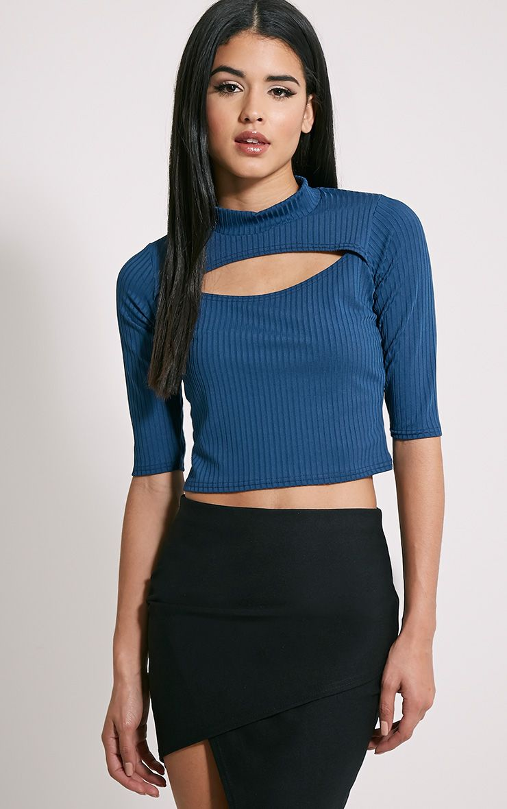 Claire Teal Ribbed Cut Out Crop Top 1