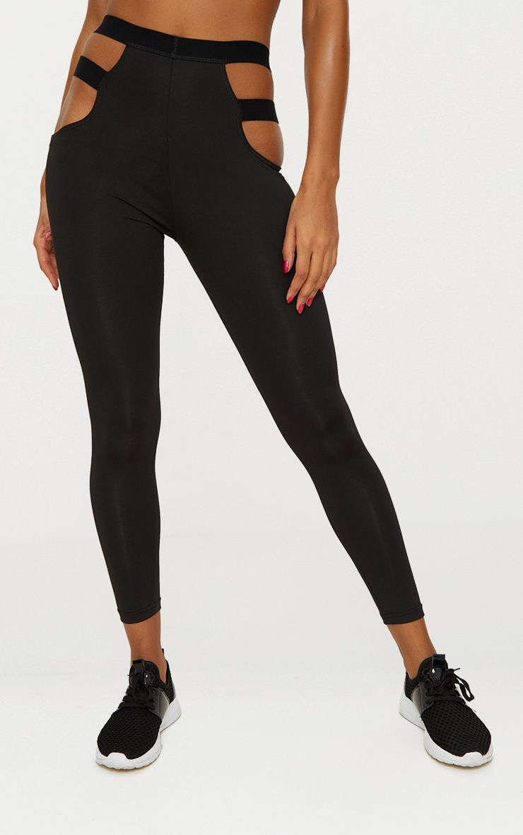 Black Strap Detail Sports Leggings