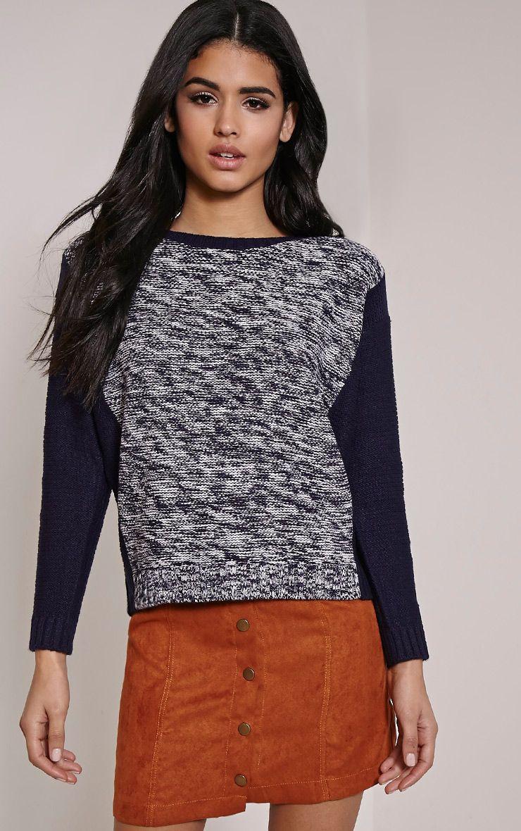 Lizbeth Navy Marl Colour Block Knitted Jumper 1