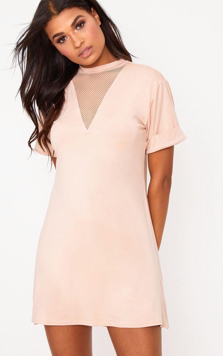 Nude Fishnet Insert T Shirt Dress