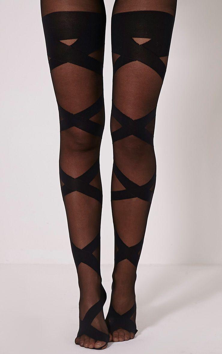 Dari Black Bandage Style Tights 1
