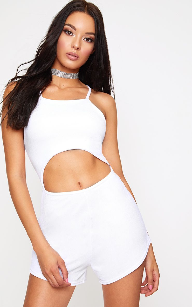 White Lace Up Cut Out Playsuit
