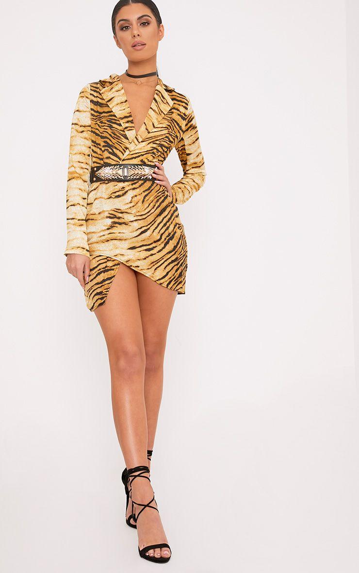 Harriett Animal Print Camel Wrap Shirt Dress
