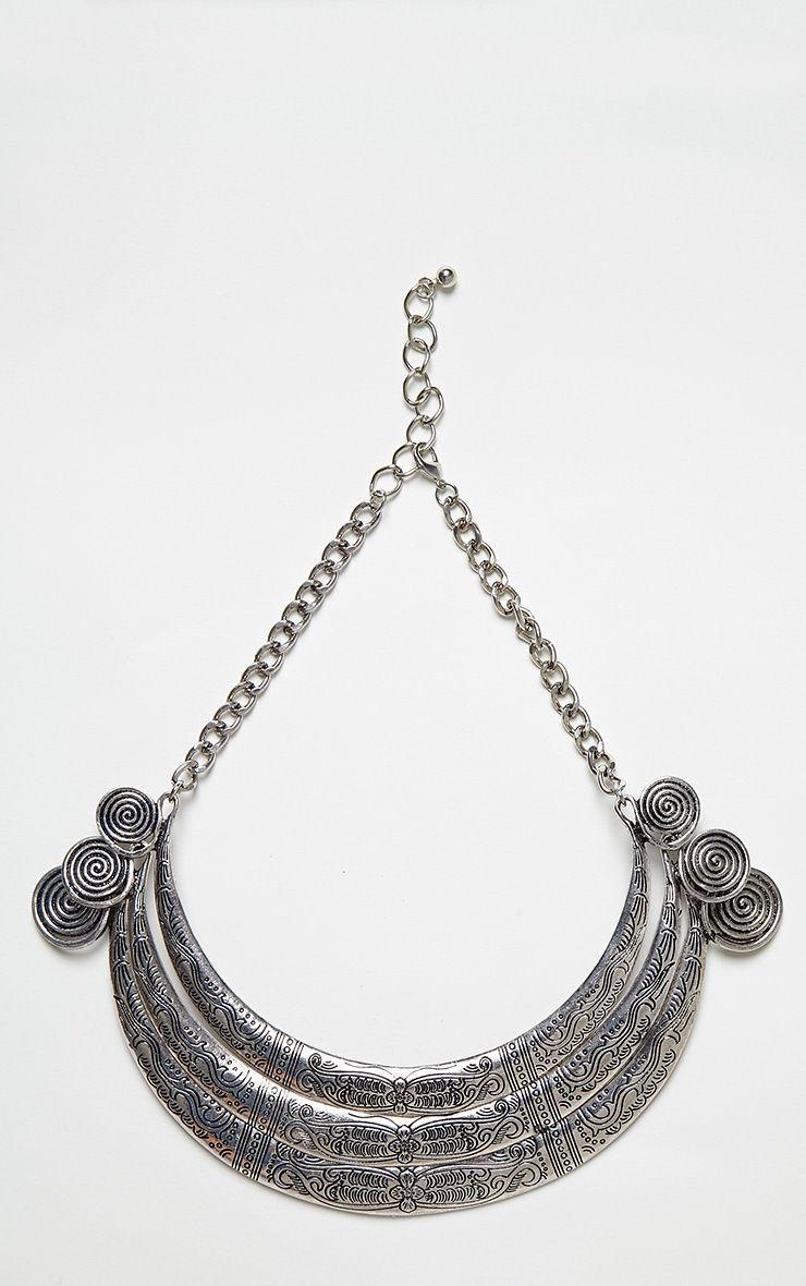 Karlie Silver Spiral Detail Collar Necklace Grey