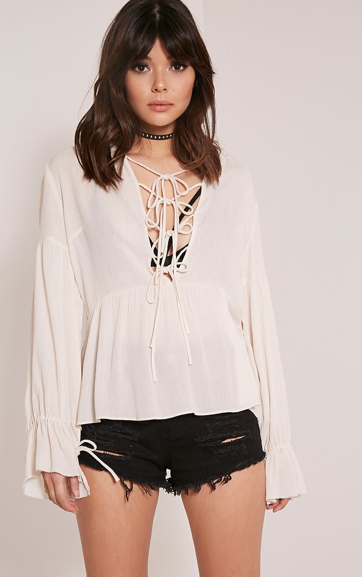 Kiara Beige Lace Up Peplum Shirt 1