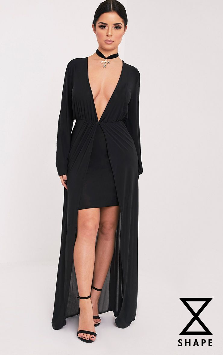 Shape Katy Black Slinky Plunge Maxi Dress