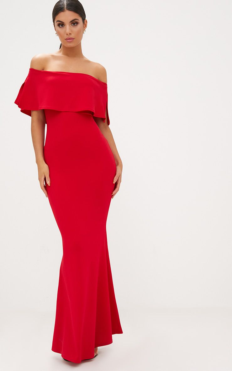 Red Bardot Frill Fishtail Maxi Dress