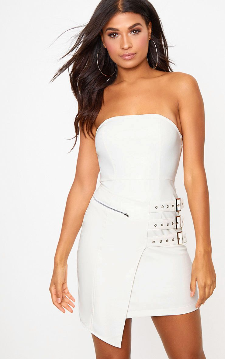 White Faux Leather Buckle Detail Bandeau Bodycon Dress
