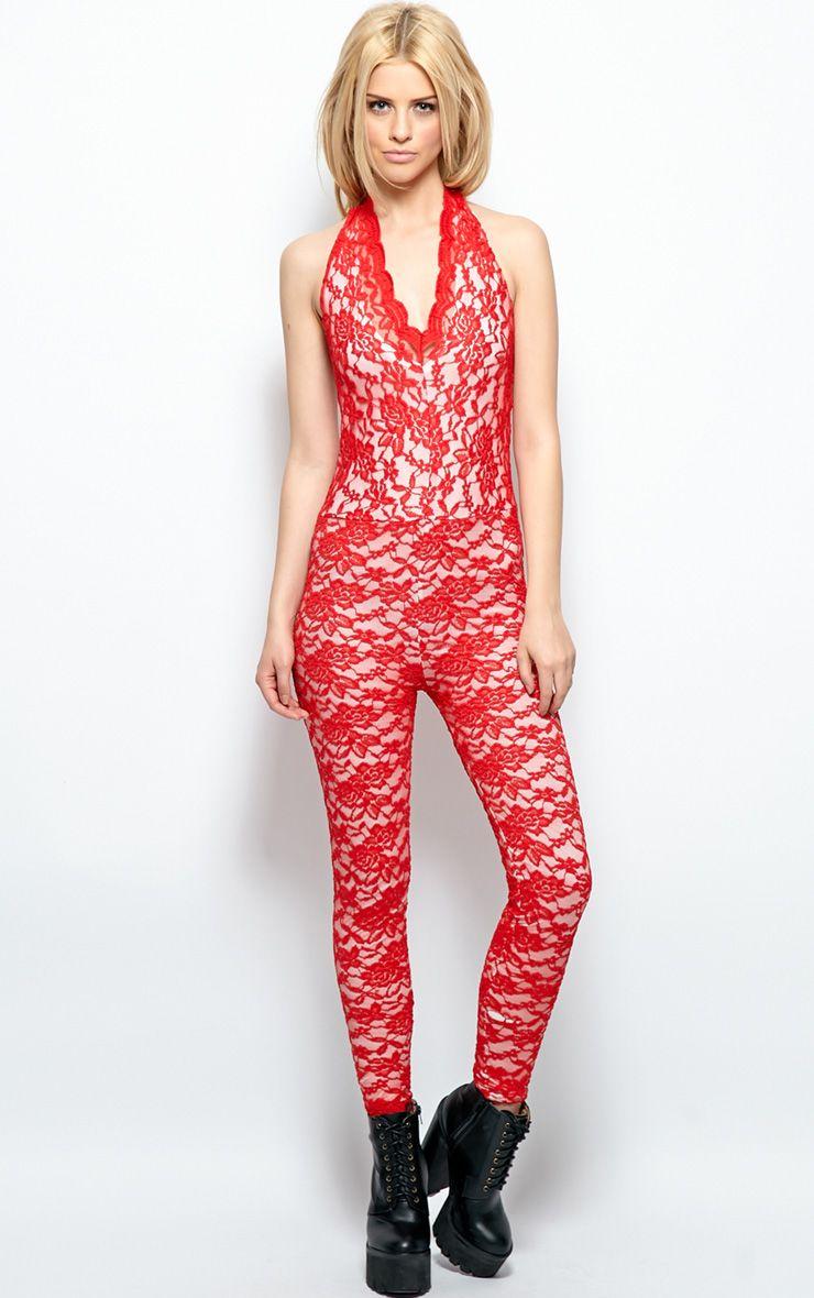 Kaylee Red Lace Halterneck Jumpsuit 1