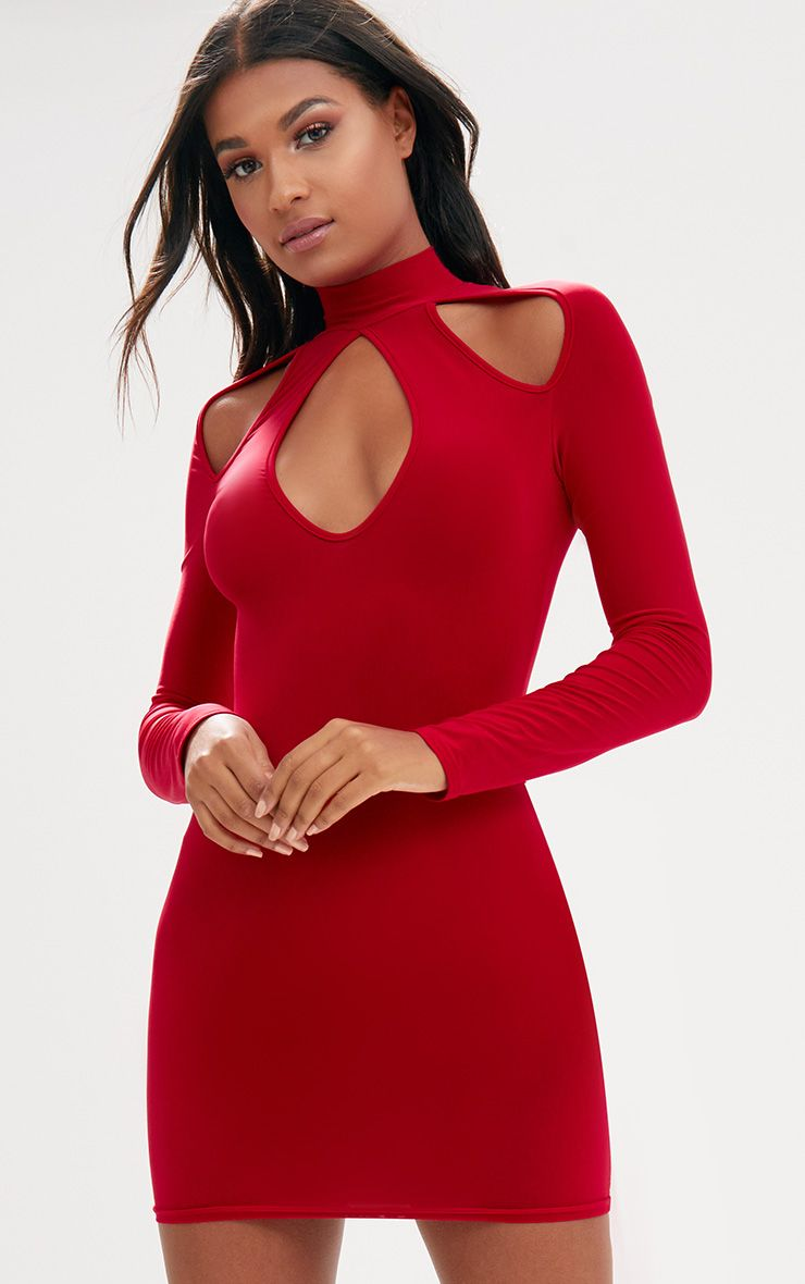 Red Open Arm Detail Long Sleeve Bodycon Dress