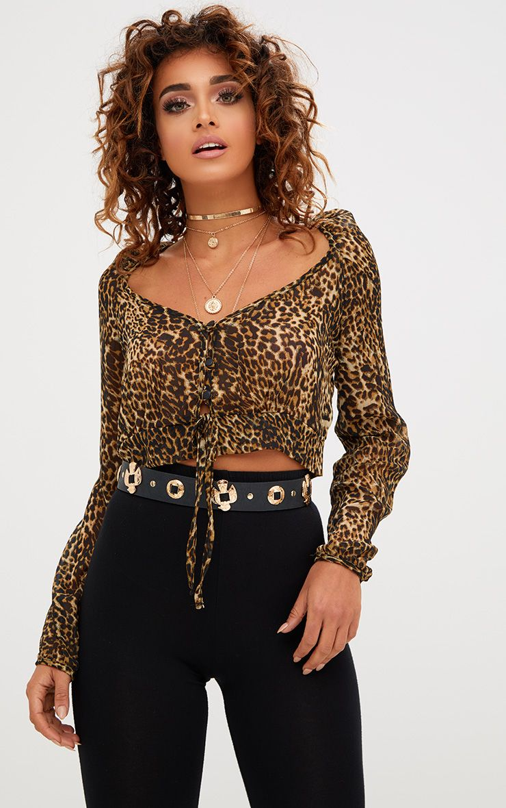 Tan Leopard Print Mesh Ruched Plunge Top