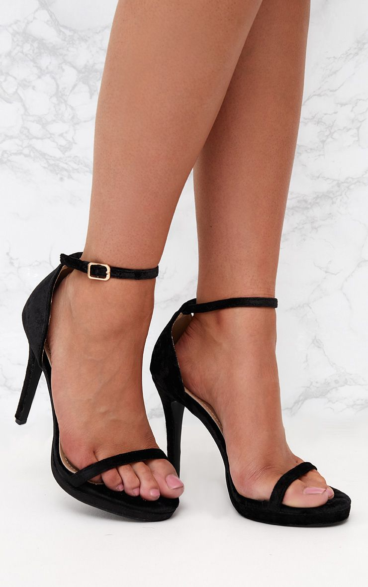 Black Velvet Single Strap Heeled Sandals