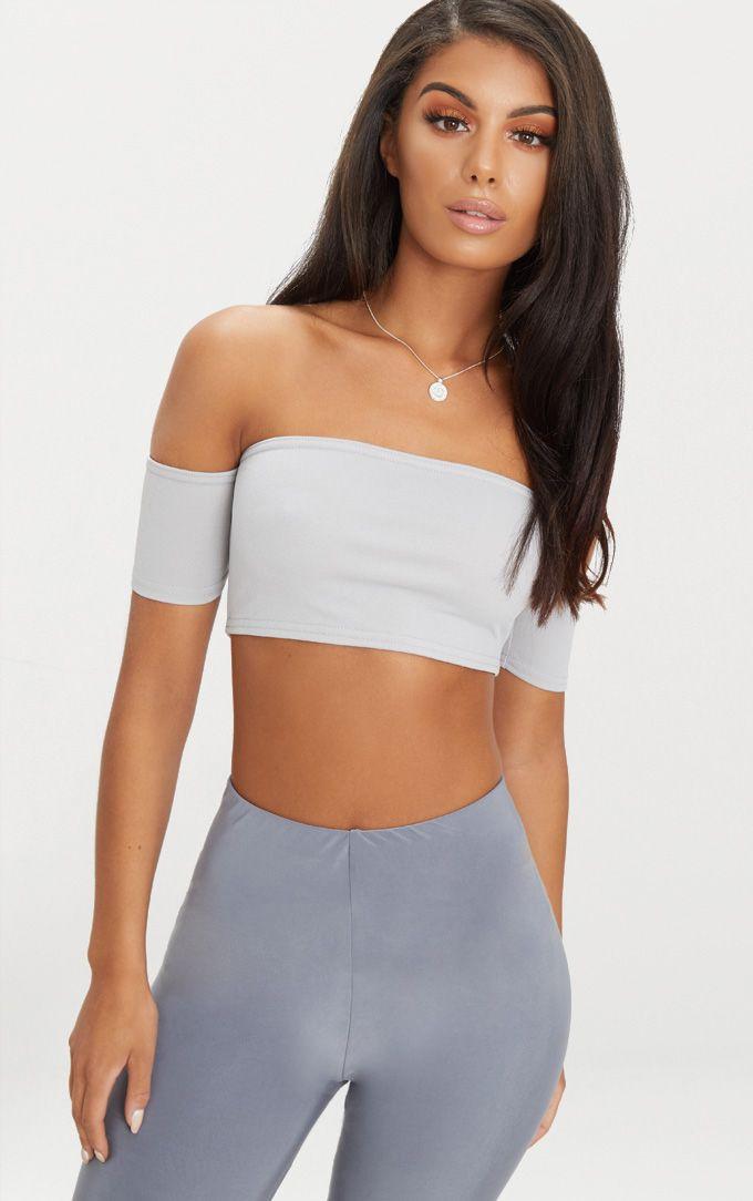 Grey Crepe Bardot Sleeve Detail Crop Top