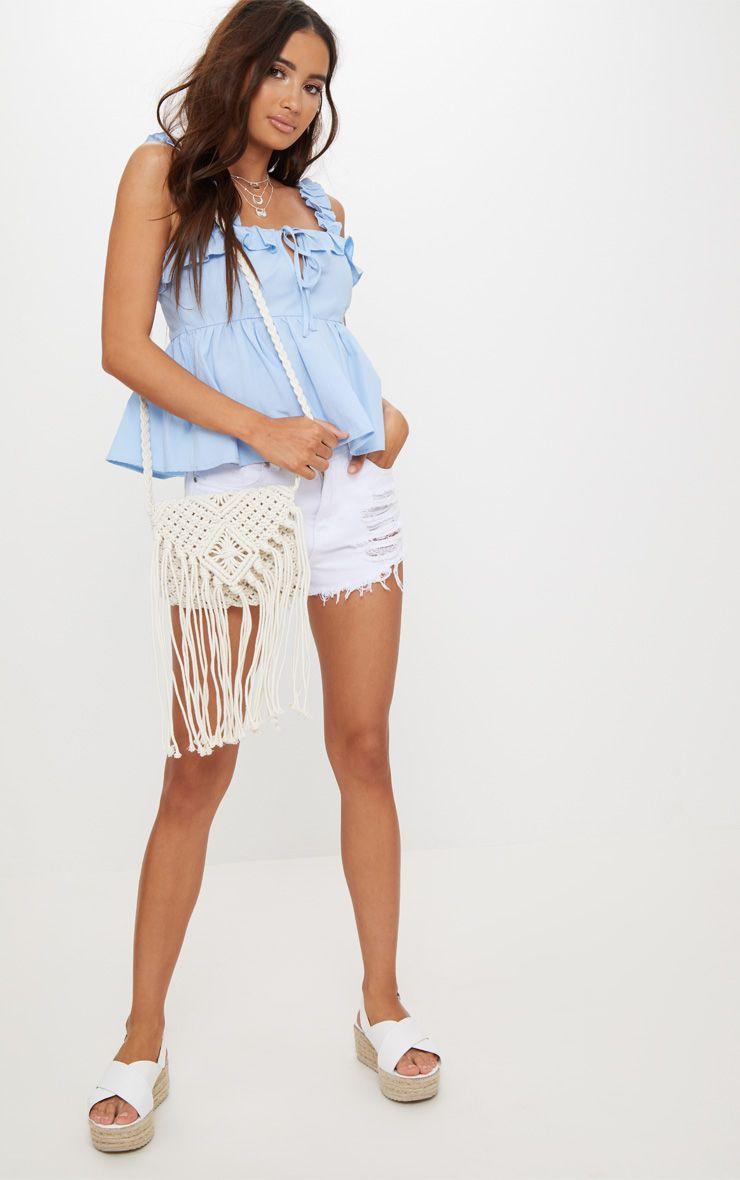 White Crochet Tassel Shoulder Bag