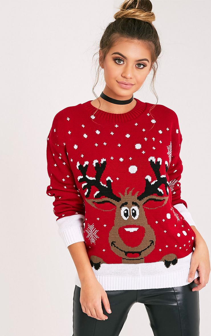 Product photo of Rudolph red christmas jumper red