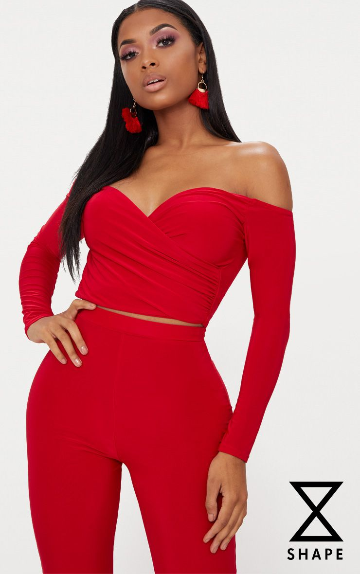 Shape Red Slinky Bardot Crop Top