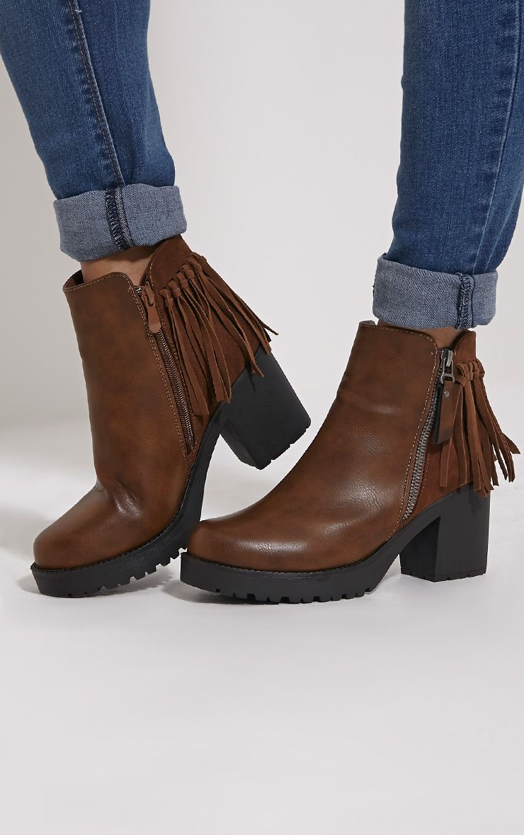 Juana Brown Chunky Tassel Ankle Boots 1